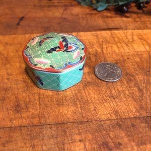 Vtg (🕊2/$10) cloisonné trinket dish, green, euc